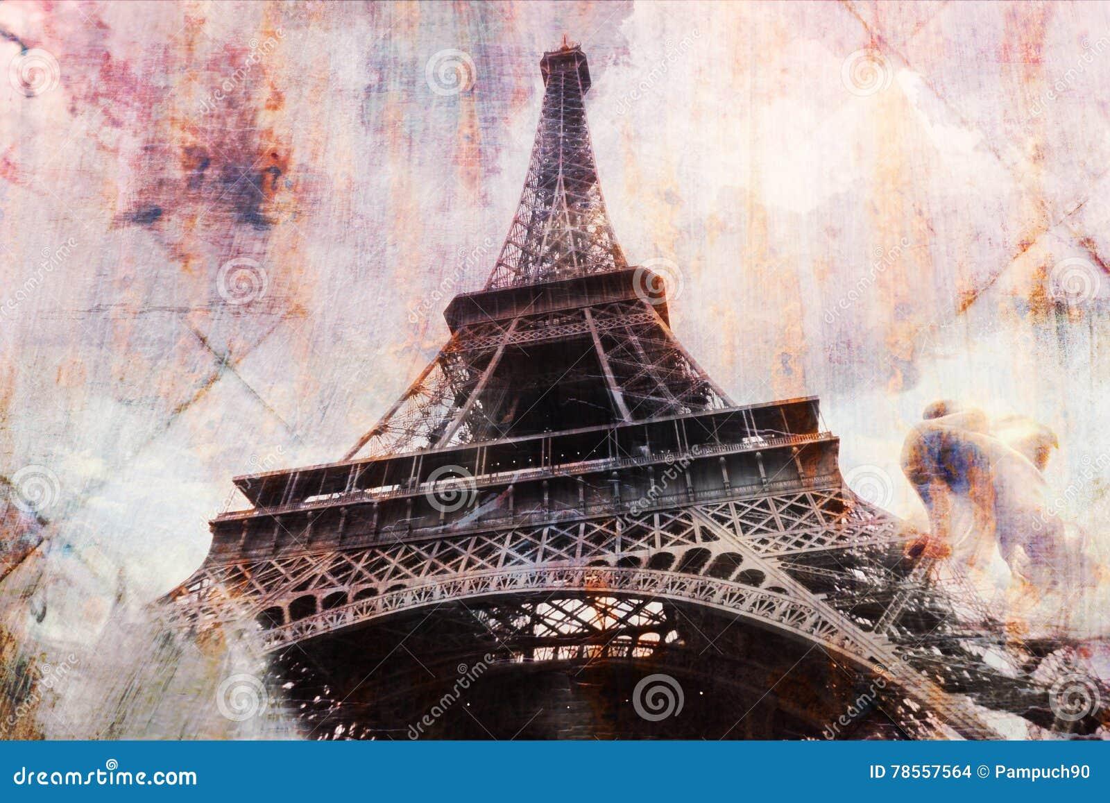 Arte digital abstracto de la torre Eiffel en París, postal del moho de la textura de la teja, alta resolución, imprimible en lona