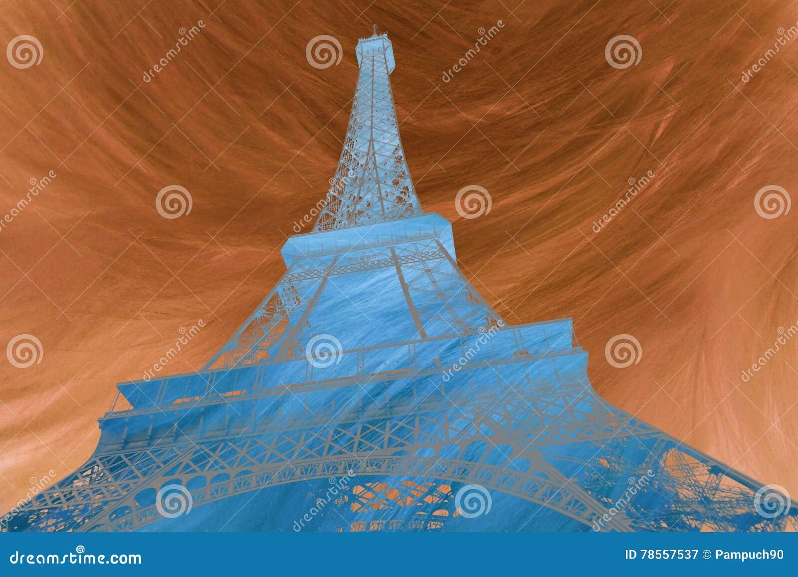 Arte digital abstracto del arte digital abstracto de Eiffel de la torre Eiffel en París Silueta Postal, de alta resolución