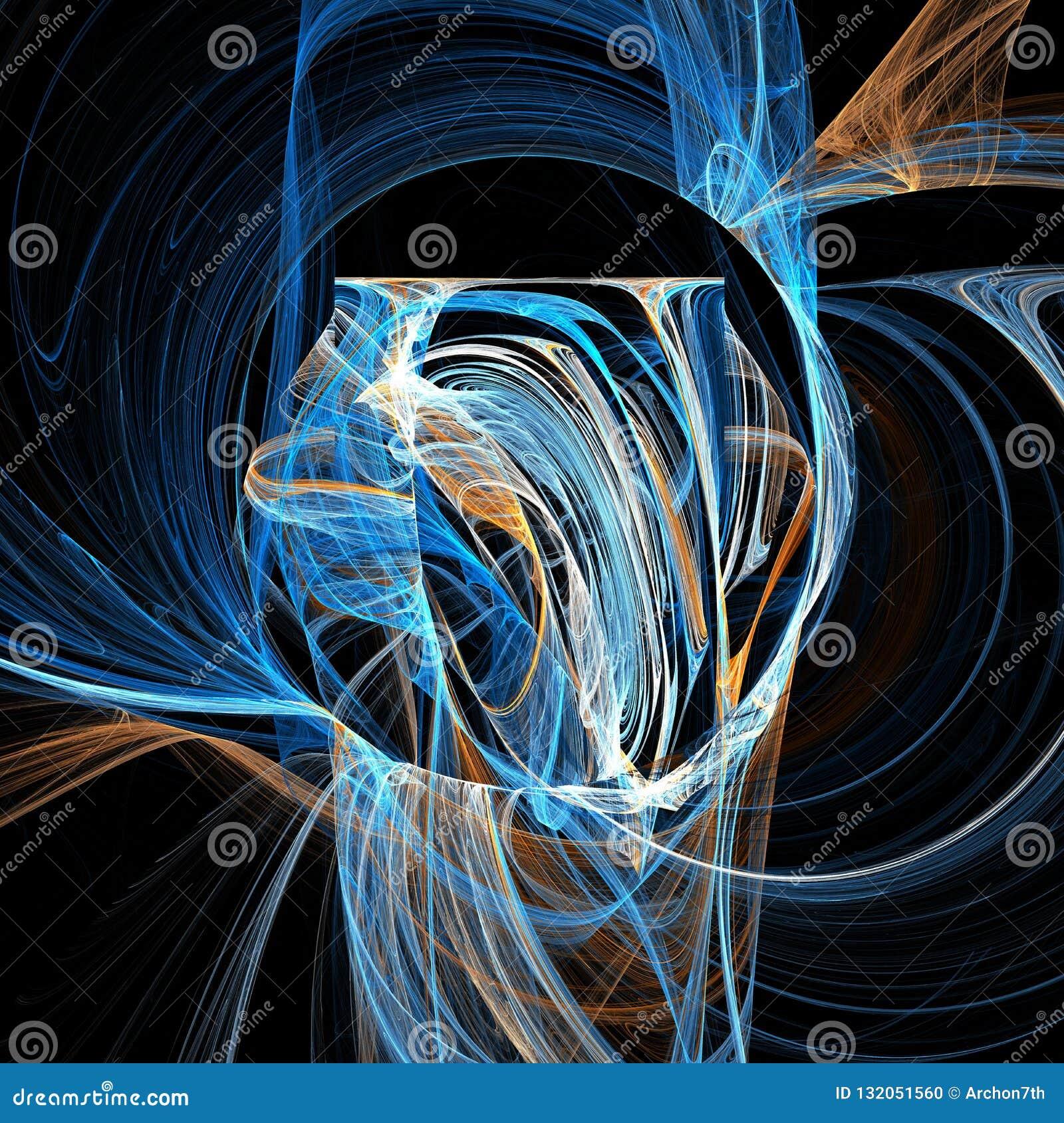 Arte digital do fractal futurista claro azul das curvas das nuvens da hélice da vertigem da mistura