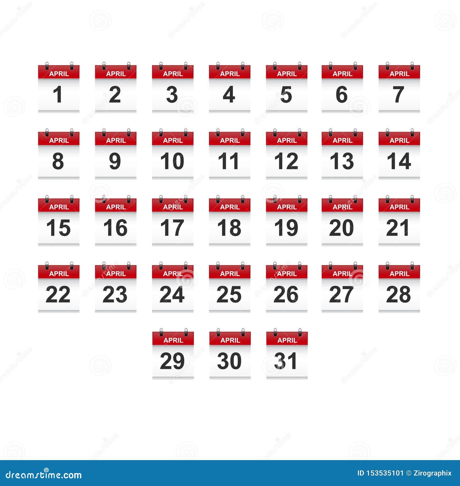 Arte do vetor da ilustração do calendário 1-31 de abril