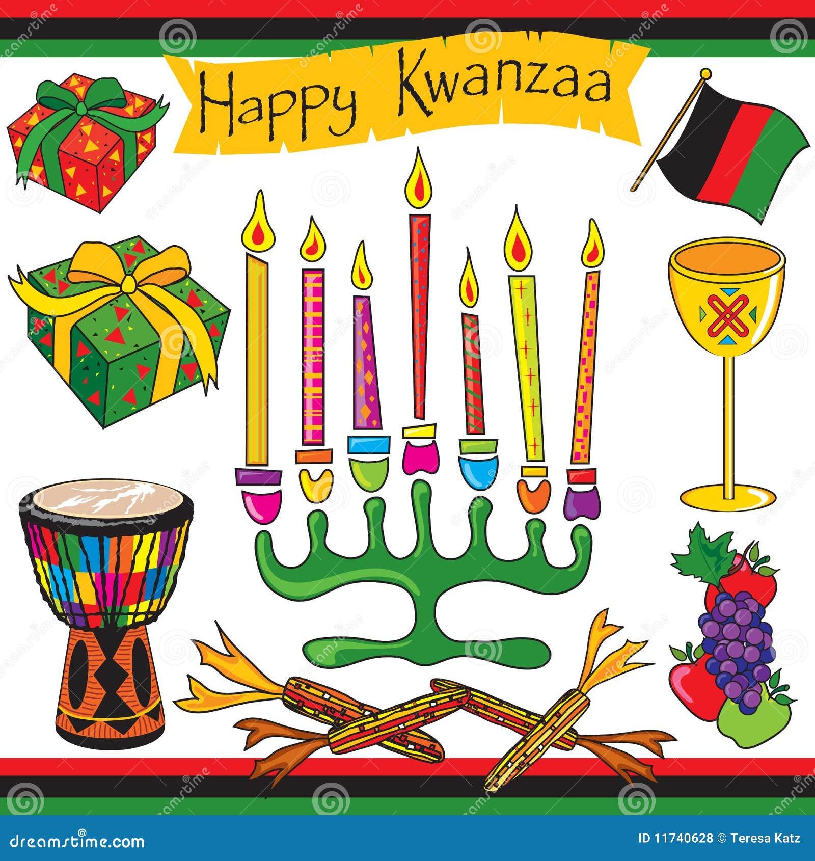 Arte e ícones felizes de grampo de Kwanzaa