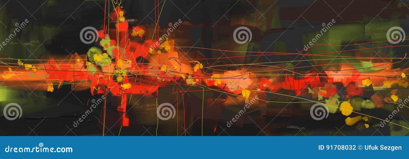 Arte finala abstrata do estilo da pintura a óleo na lona