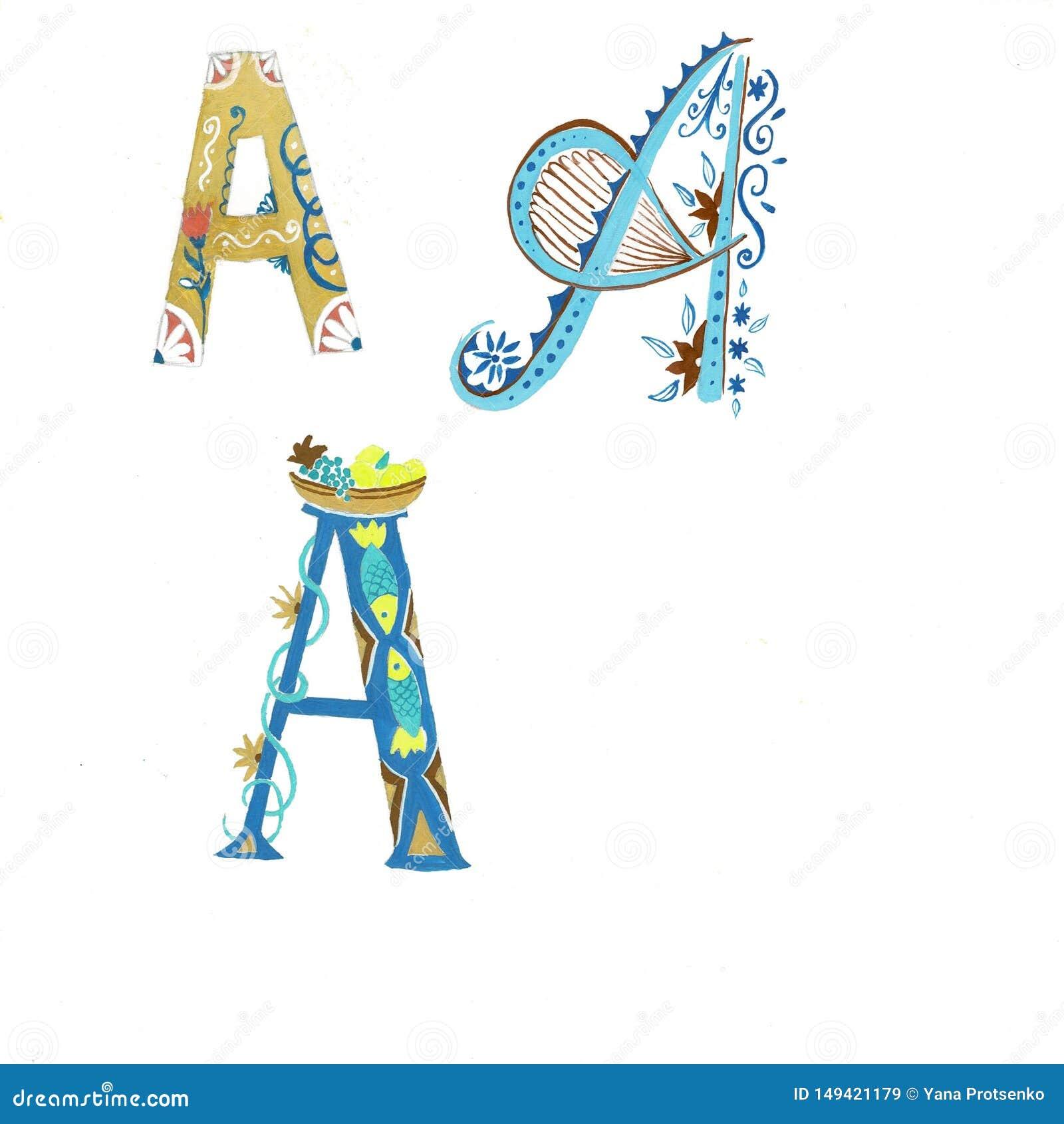 Arte floral do alfabeto da aquarela do ouro Combina??o de ouro uma grinalda da letra e da flor para criar projetos delicados para