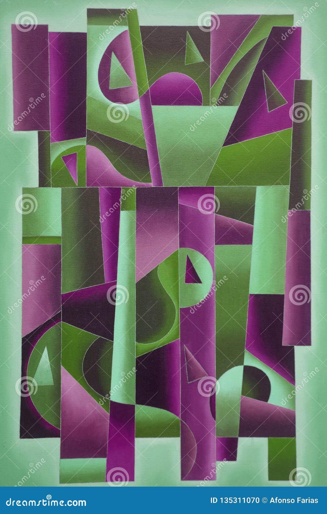Arte geometrica di Digital verde chiaro e Bordeaux