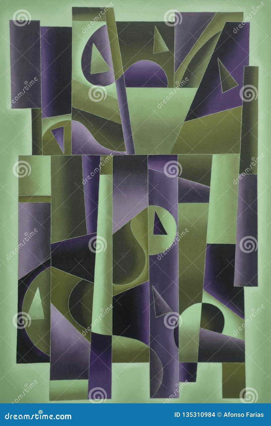 Arte geometrica di Digital verde e porpora