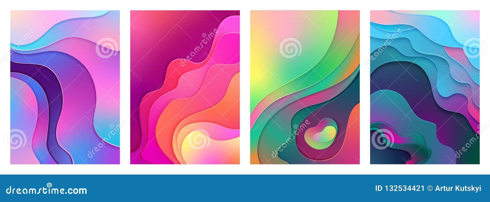 Arte mezclado activo del corte del papel del color de la pendiente de la pendiente moderna metálica Vector curvado, acodado del f