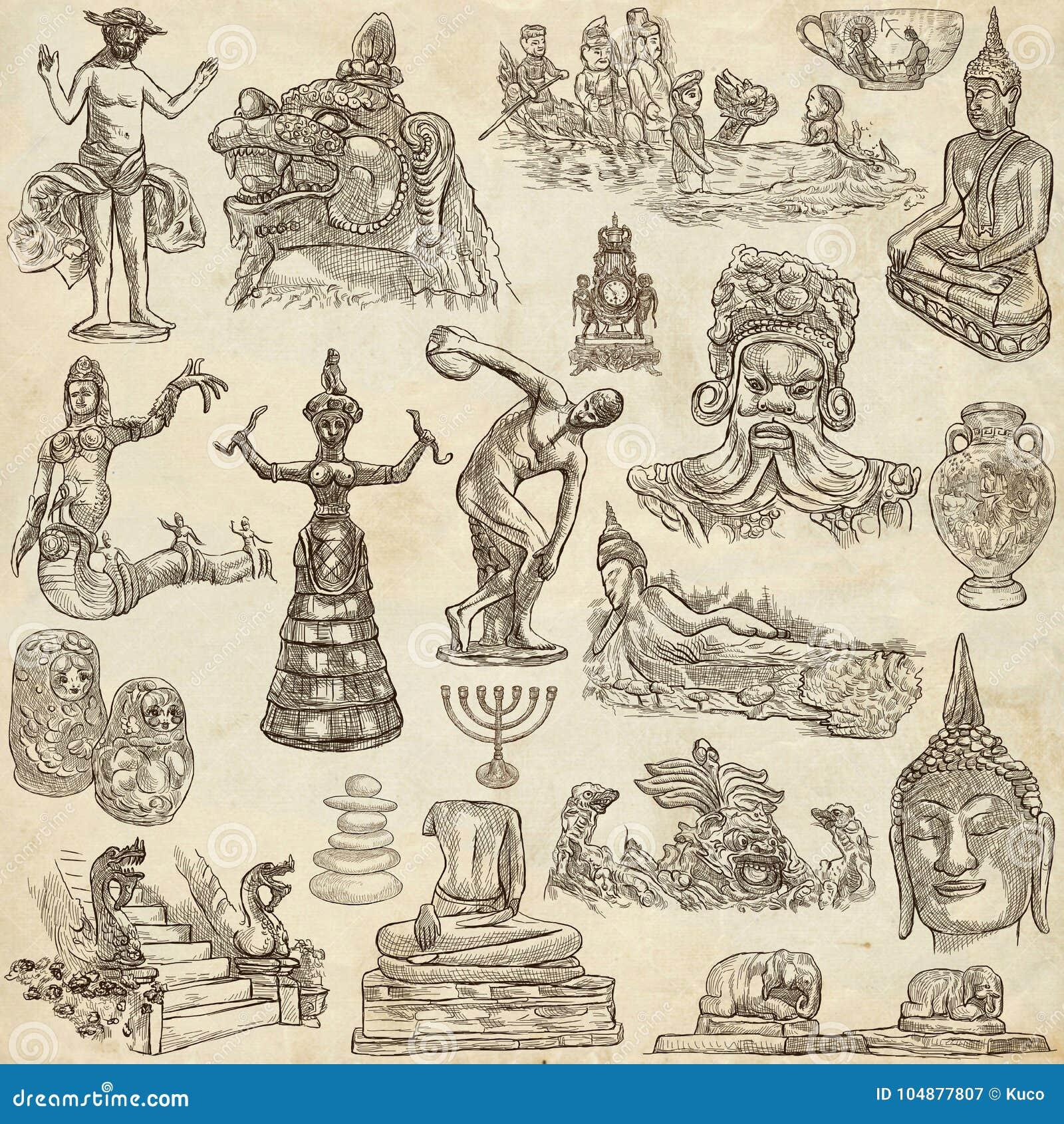 Arte nativa e velha - entregue a coleção tirada no papel velho