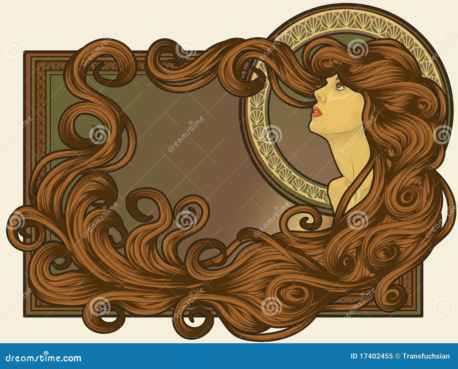 A arte Nouveau denominou a face da mulher com cabelo longo