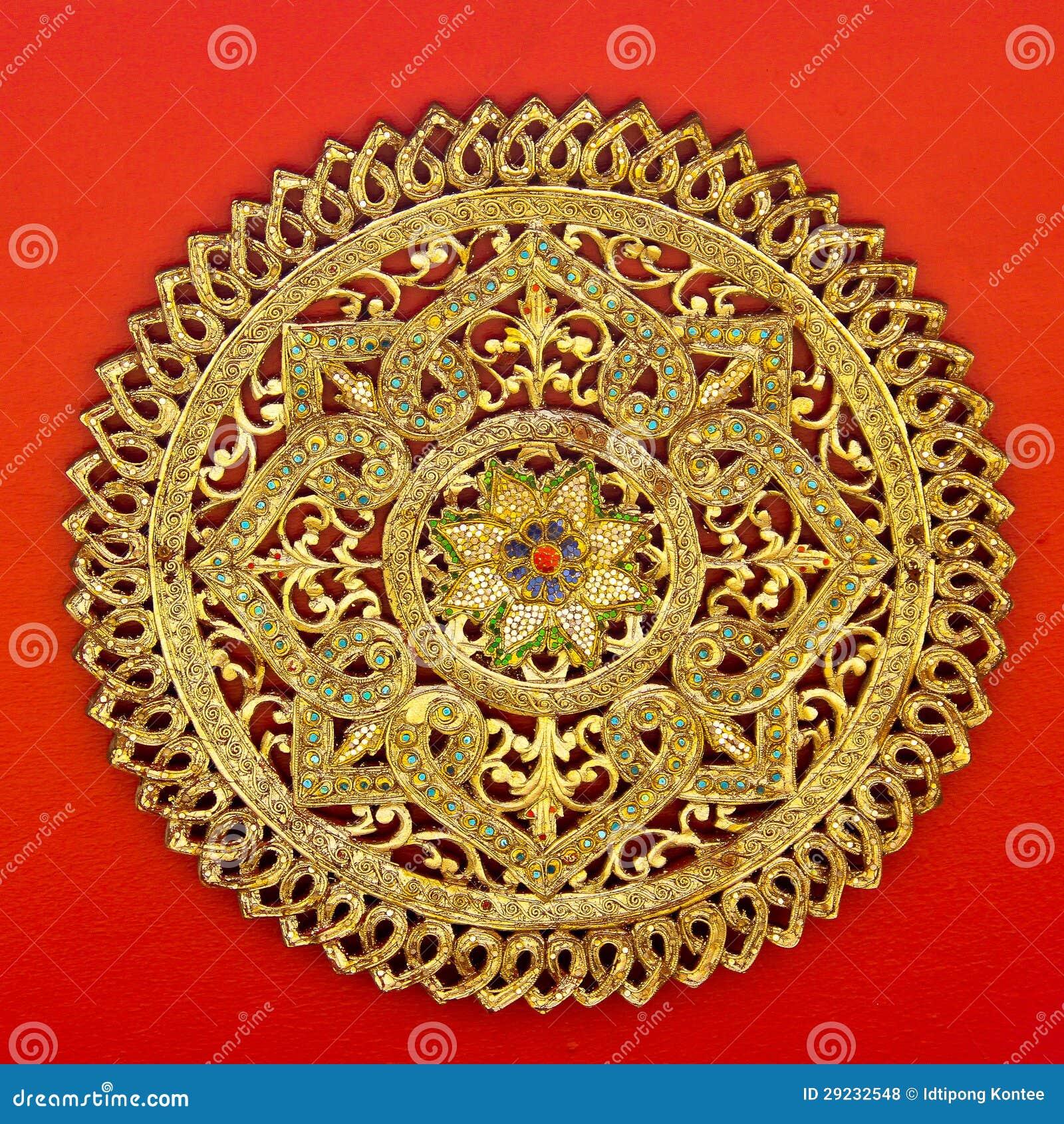 Download Arte Tradicional No Estilo Tailandês No Templo De Tailândia Foto de Stock - Imagem de decore, arquitetura: 29232548