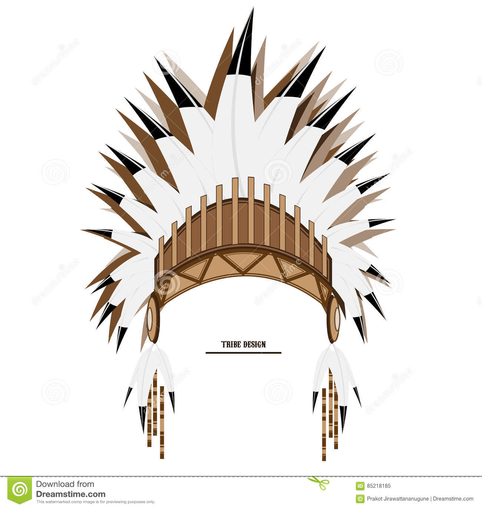 Arte Tribal Indiana Do Chapéu Da Pena Do Vetor Ilustração do Vetor ... 9ad69ddd5dc