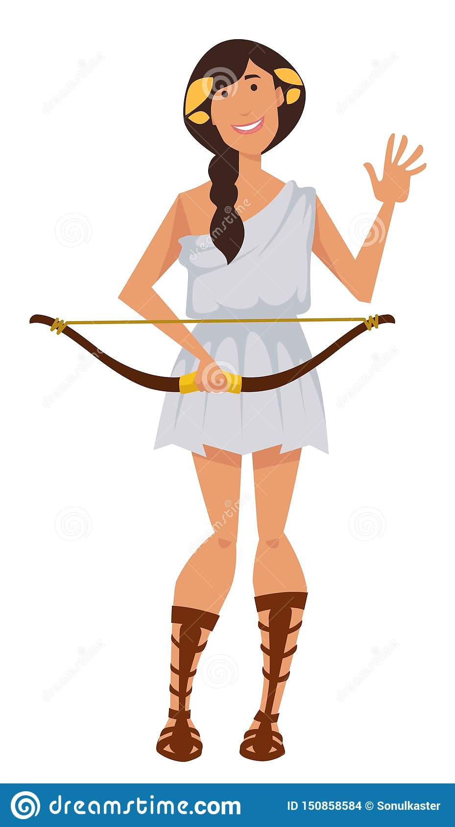 Artemis Ancient Greek Goddess With Bow Symbol Of Hunt ...