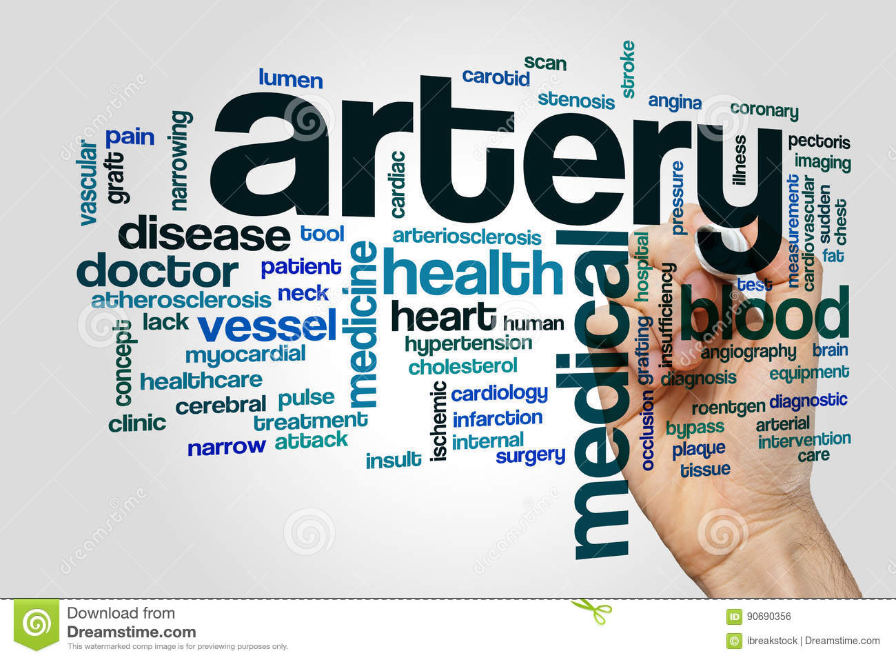 Artery word cloud concept on grey background