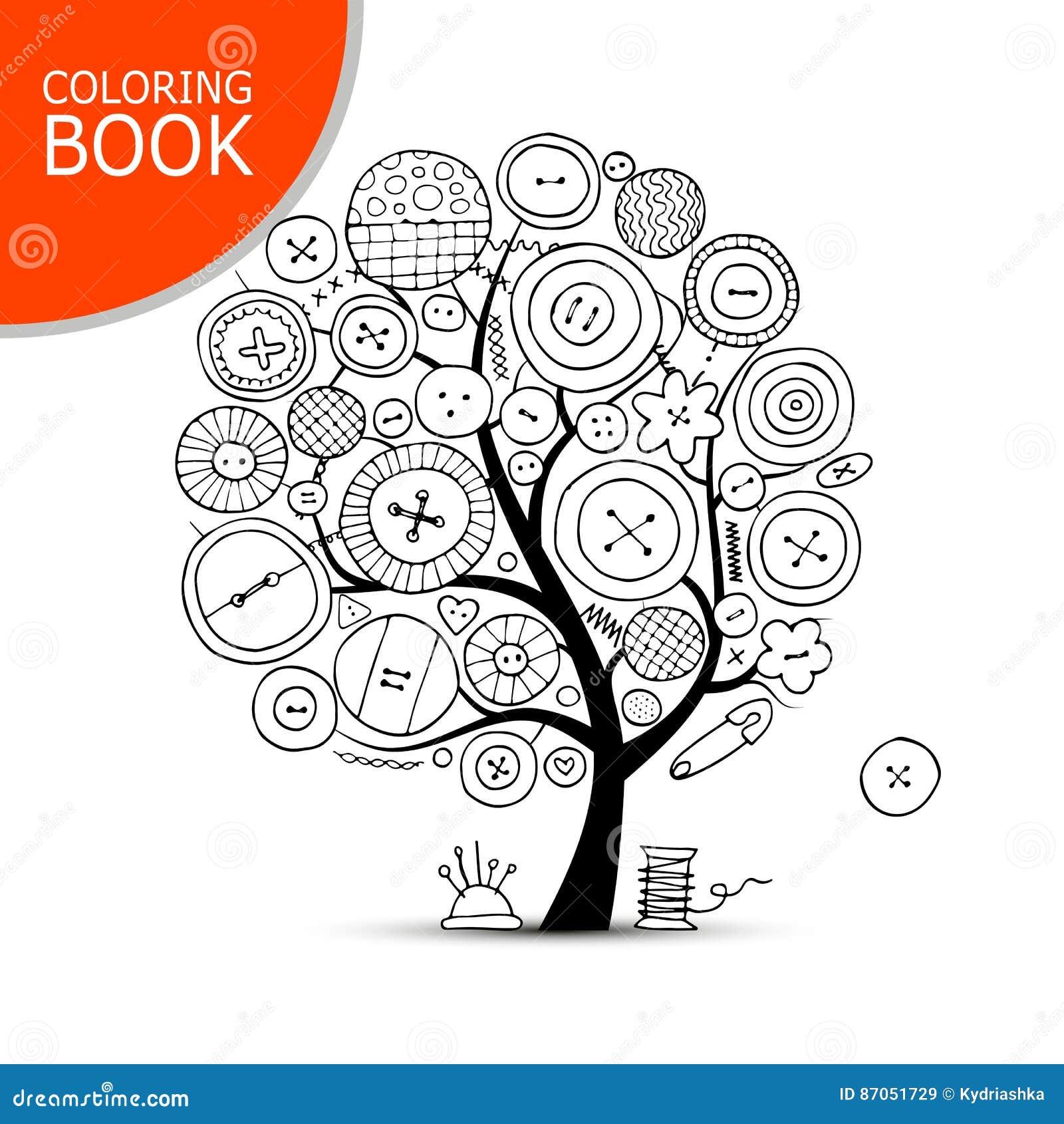Artes De Costura, árbol Del Arte Página Para Su Libro De Colorear ...