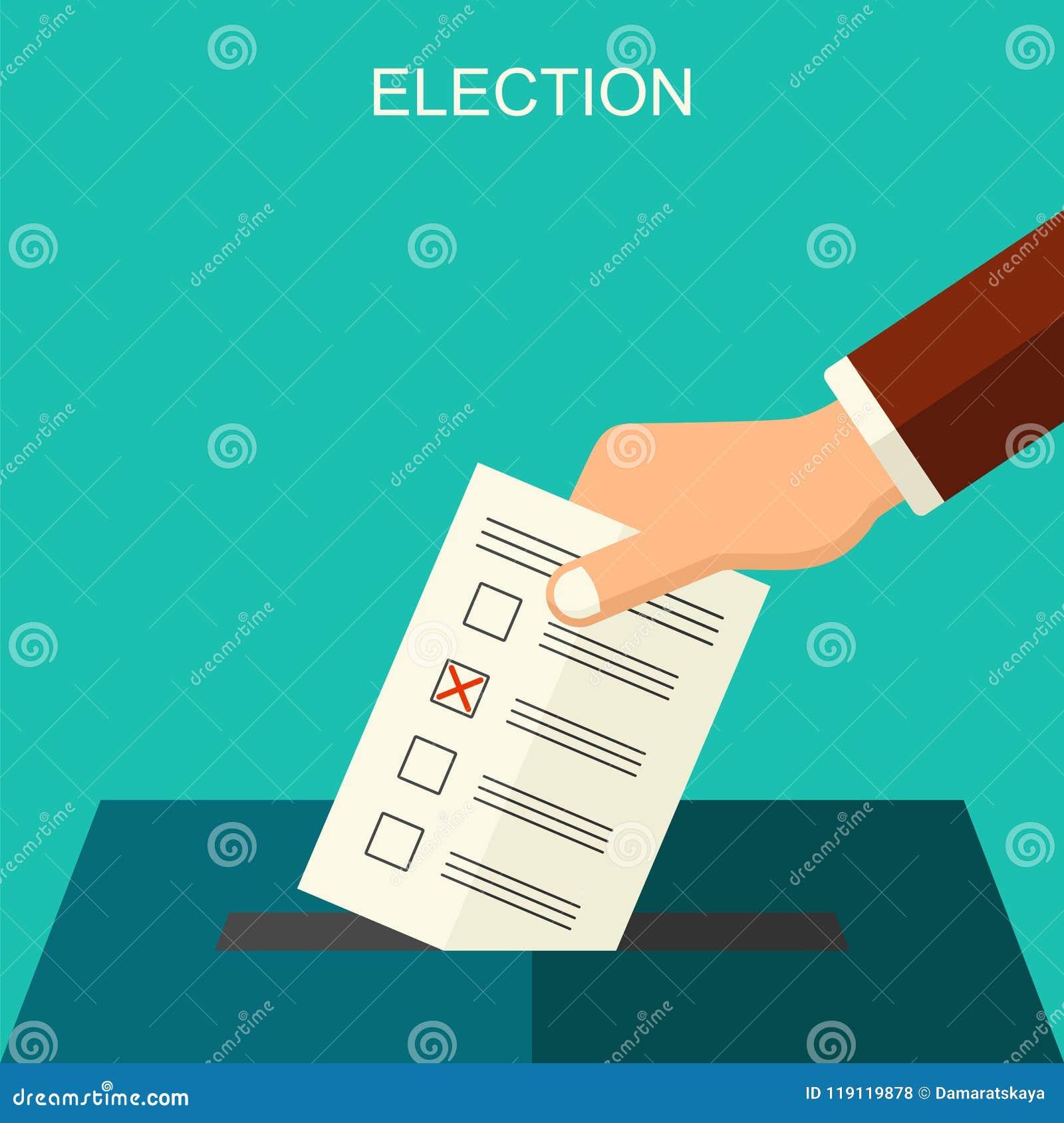 Arthintergrund des Wahl- und Abstimmungskonzeptvektors flacher Illustration für Wahlkampfflieger, -broschüren und -website