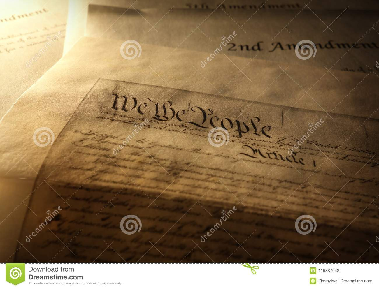 Article One Of The Us Cons Ution With 2nd And 5th Amendments In The Background