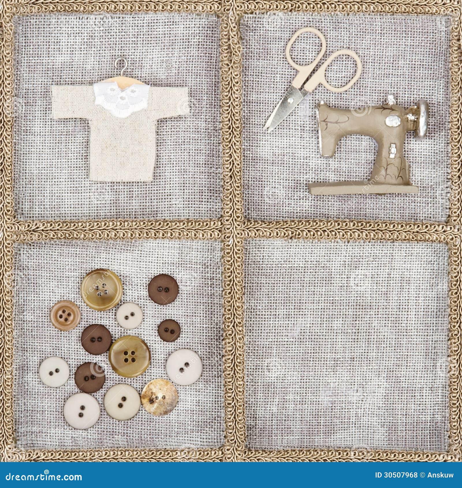 articles de couture sur le fond de toile rustique photo. Black Bedroom Furniture Sets. Home Design Ideas