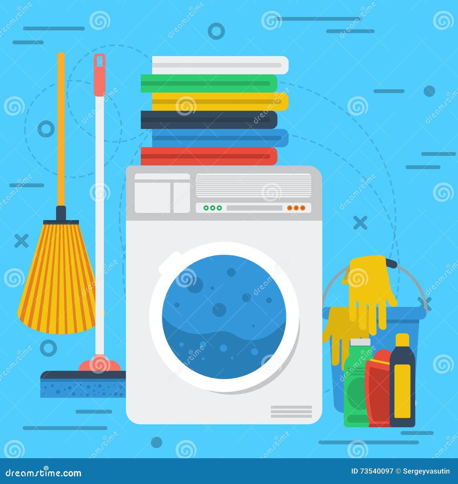Nettoyage De La Machine À Laver articles de nettoyage avec la machine à laver illustration