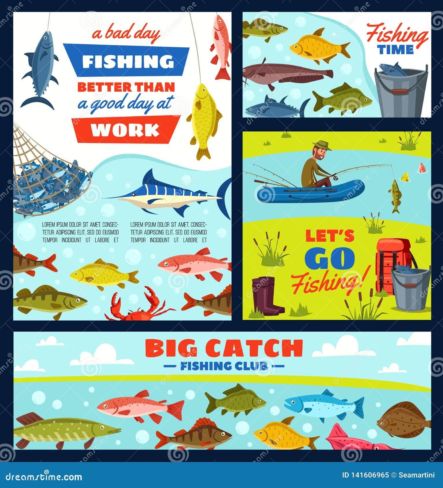 Articles de pêcheur et de pêche, poissons et attirail