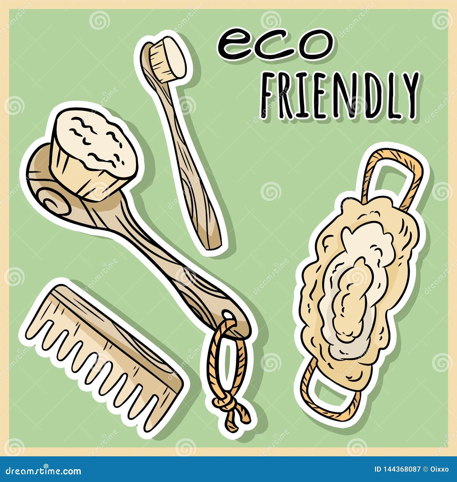 Articles matériels naturels de douche Produit écologique et de zéro-déchets Maison verte et vie sans plastique