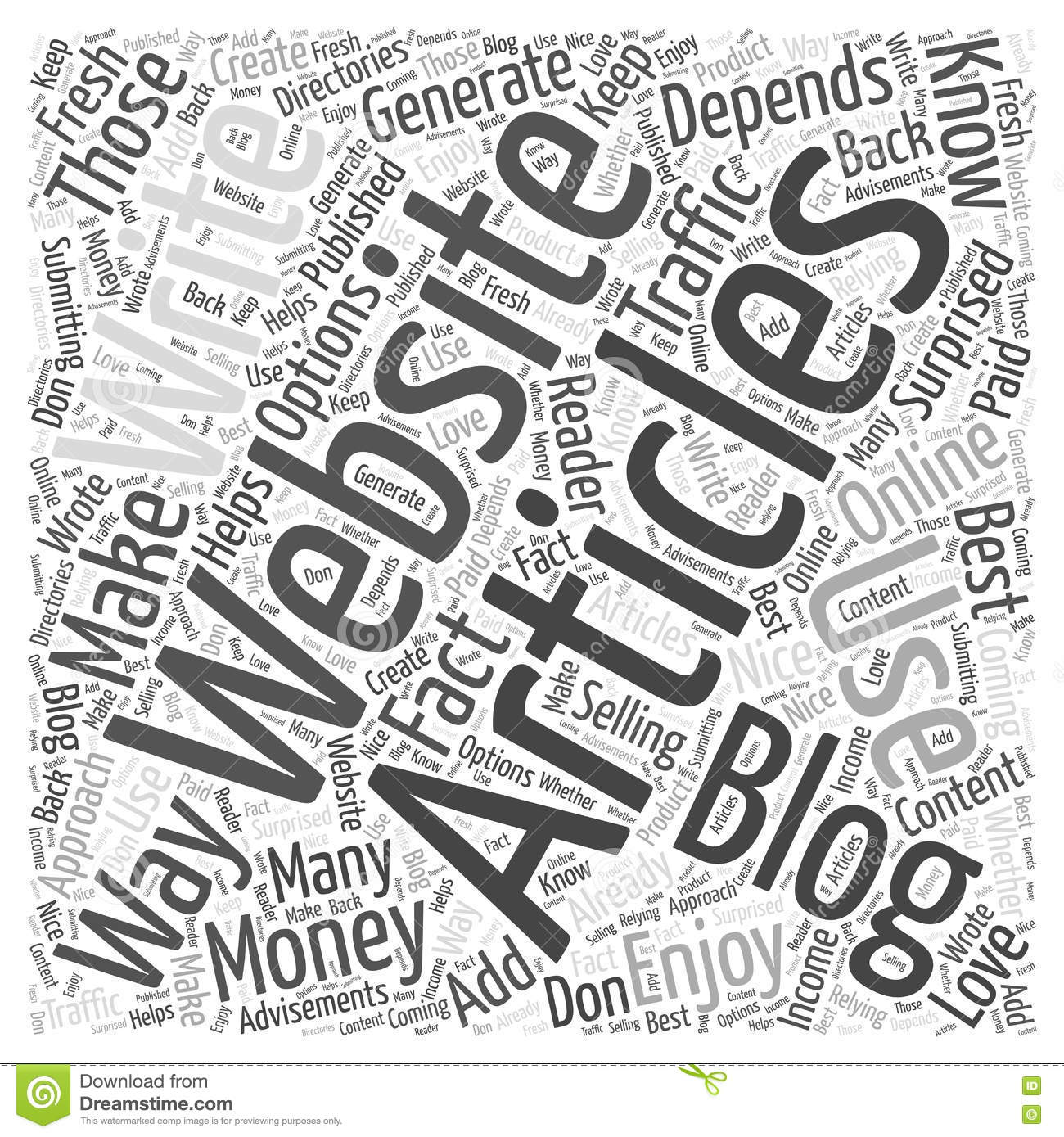 Articles You Write What to Do With Them word cloud concept vector background