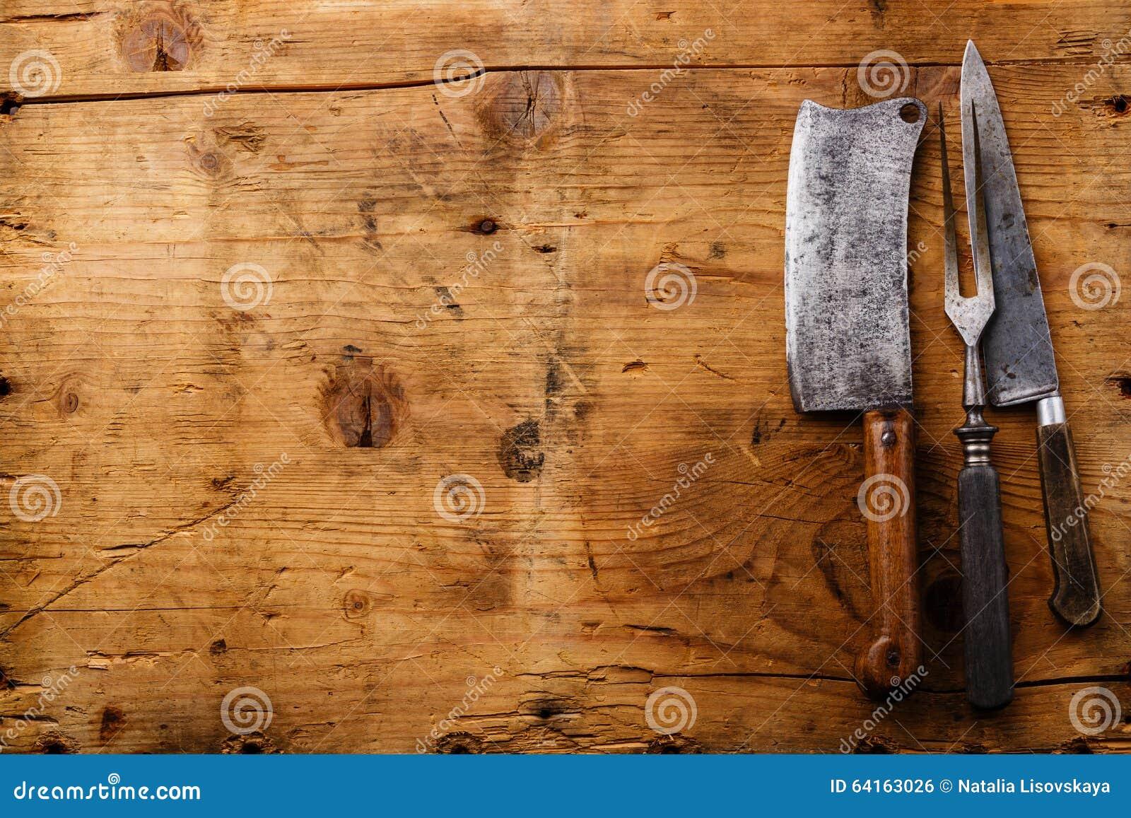 Articolo da cucina d annata su fondo di legno