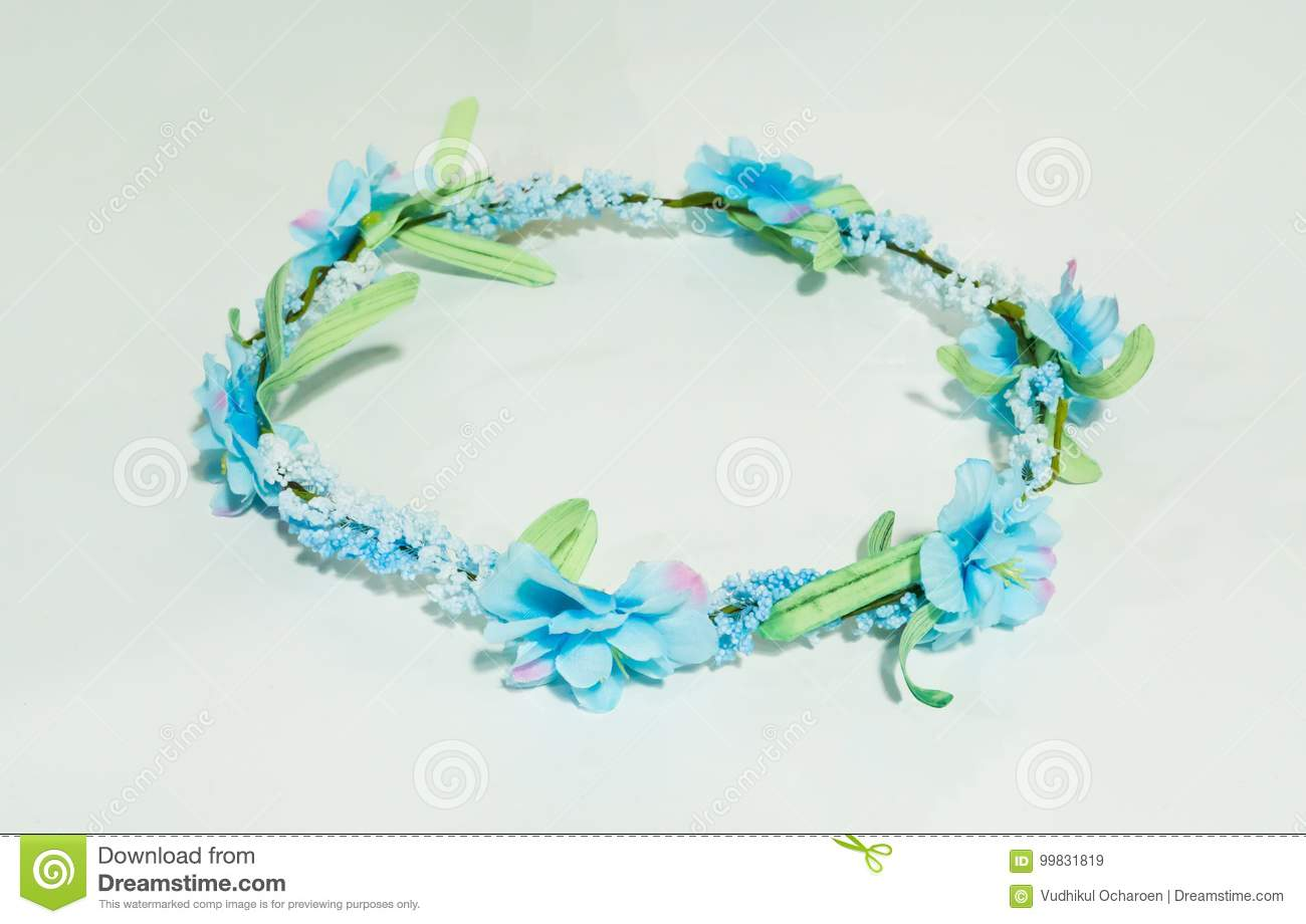 Artificial blue gypso green leaves and blue flower crown isolat artificial blue gypso green leaves and blue flower crown isolat izmirmasajfo Gallery