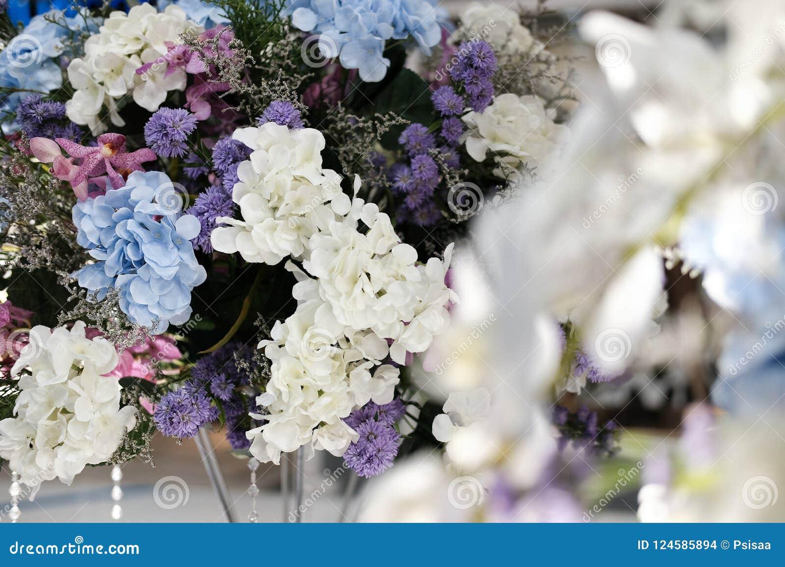 Artificial Blue White Hydrangea Flower Bouquet Stock Photo Image