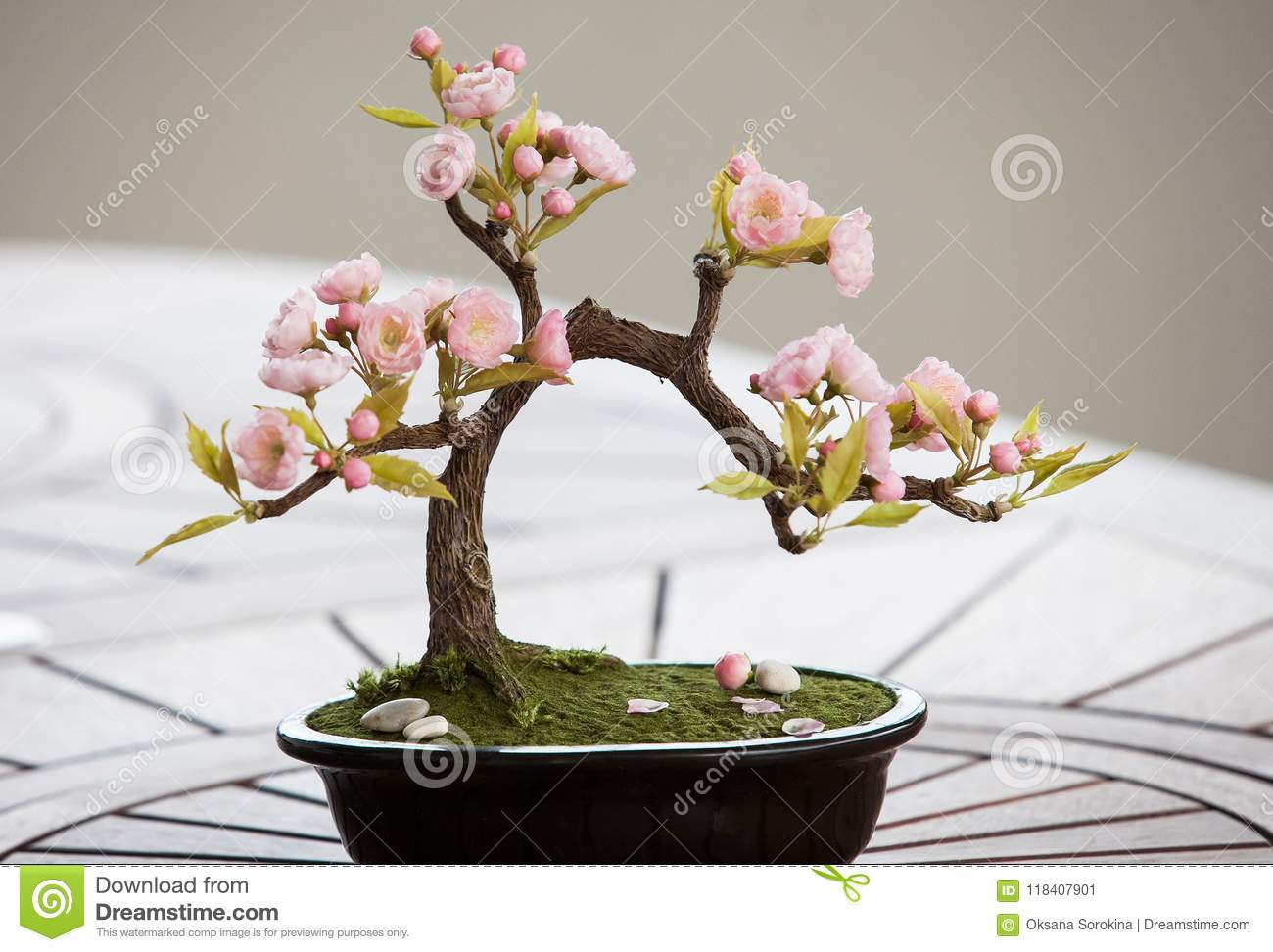 Artificial Bonsai Tree With Flowers Stock Image Image Of Tree