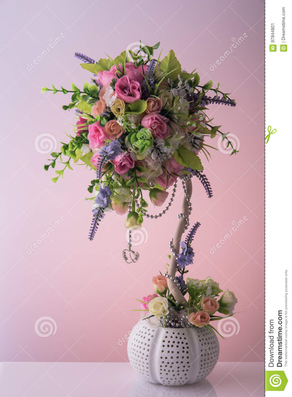 Artificial Bouquet Of Diffirent Beautiful Small Flowers With Nice Silver Chain And Two Hanging Hearts Flower Pot Stock Image Image Of Beautiful Green 97844801