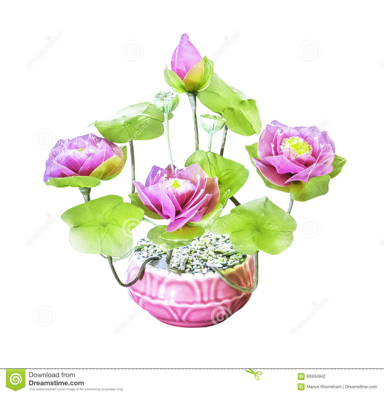 Artificial Bouquet Lotus Flower Isolated Stock Photo Image Of