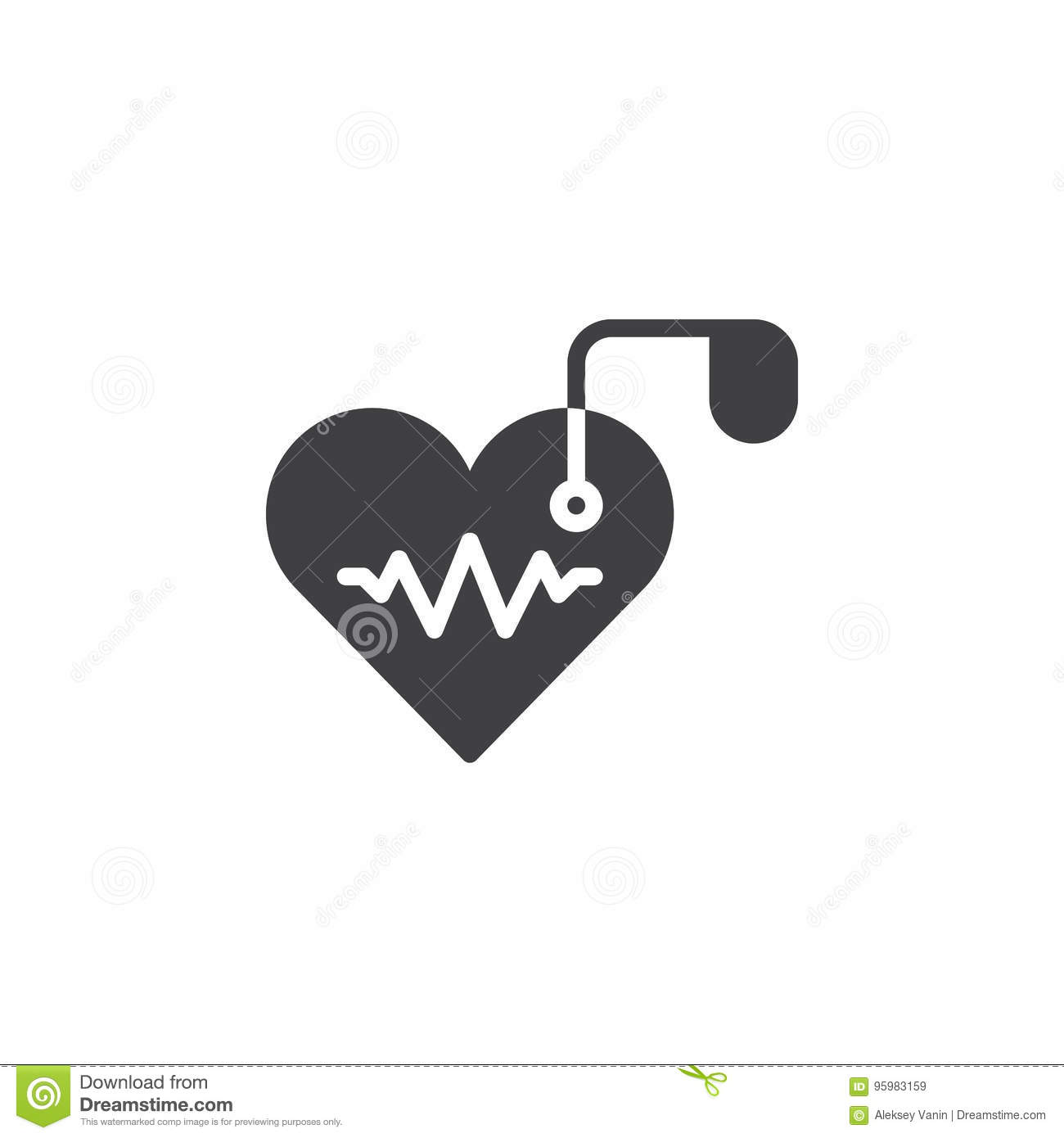Artificial cardiac pacemaker icon vector, filled flat sign, solid pictogram isolated on white