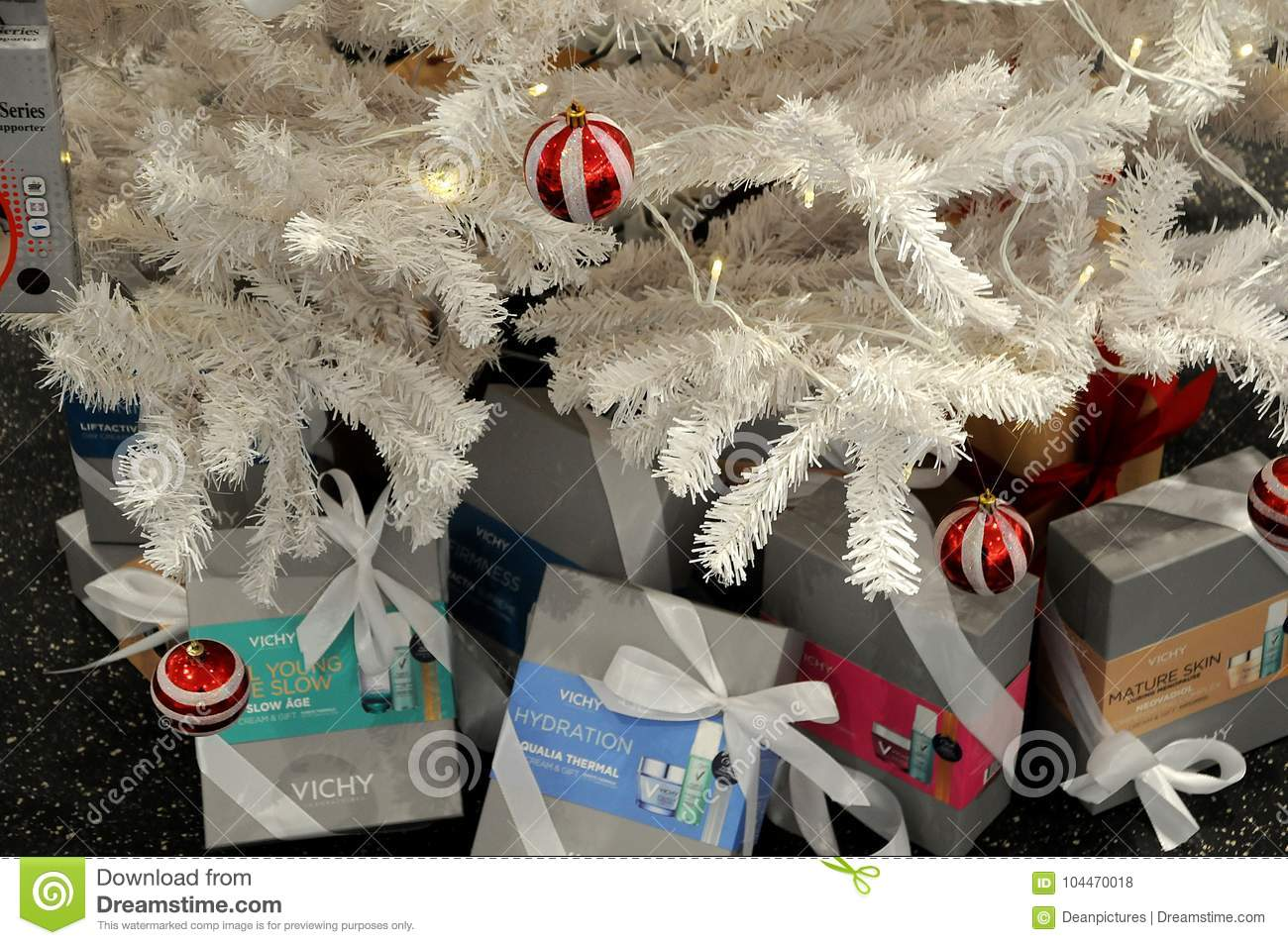 artificial christmas tree decoarted with ornament and medicines at danish pharmacy photofrancis deandean pictures - Pharmacy Christmas Ornaments