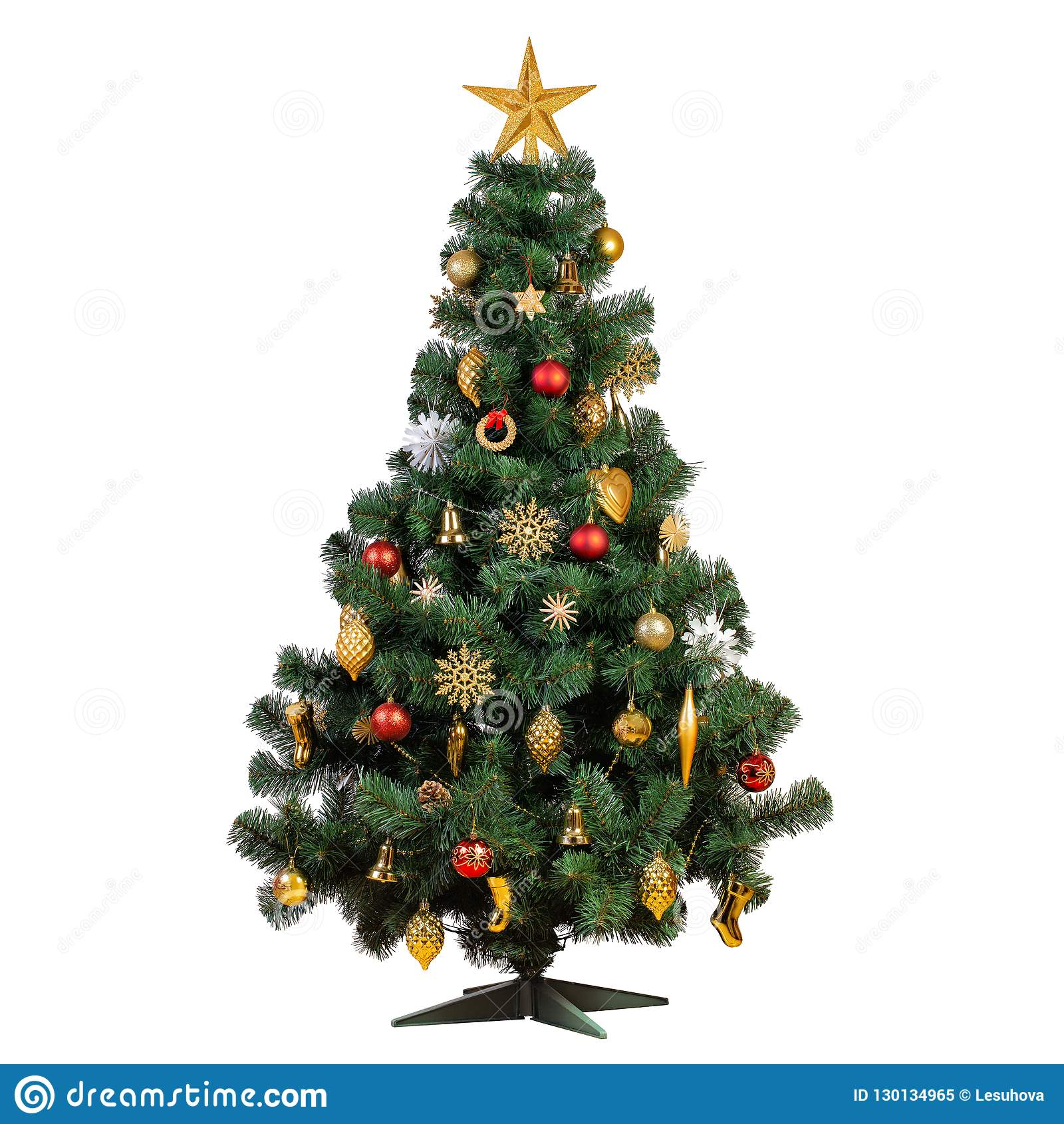 Vintage Artificial Christmas Trees.Artificial Christmas Tree With Beautiful Classic Vintage Decorations