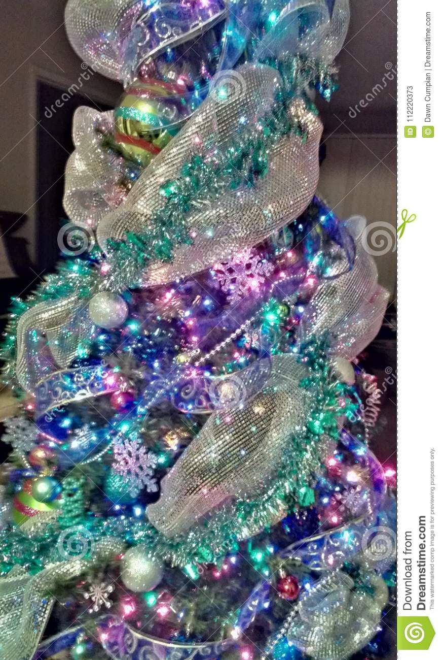 Christmas Tree With Mesh Ribbon Images.Gorgeous Christmas Tree Stock Image Image Of Tree Using