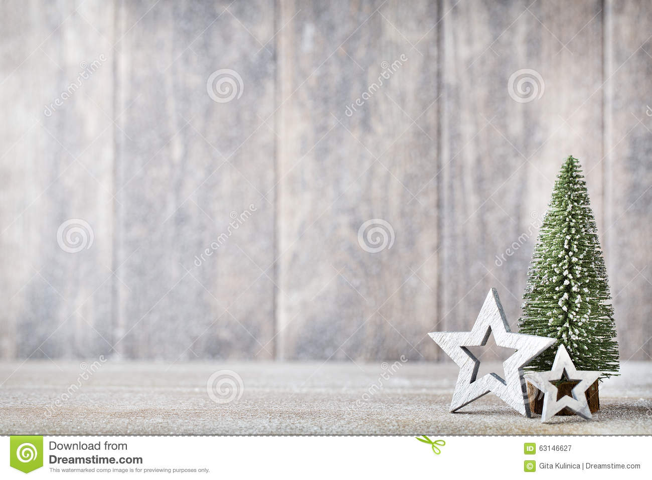 Artificial Christmas Tree On A Wooden Background. Stock Image ...