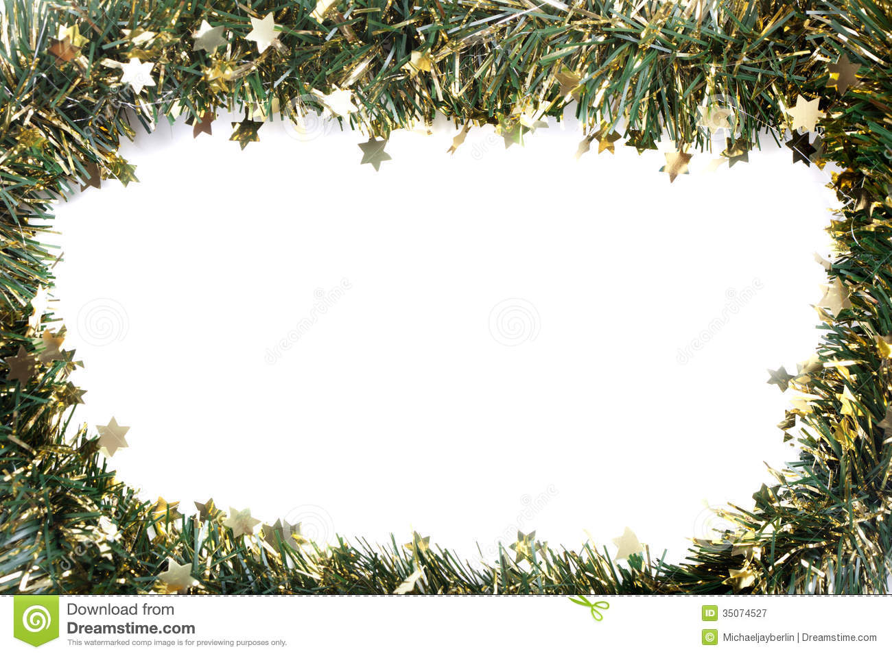 Artificial Fir Branch Garland With Tinsel Stock Image - Image of ...