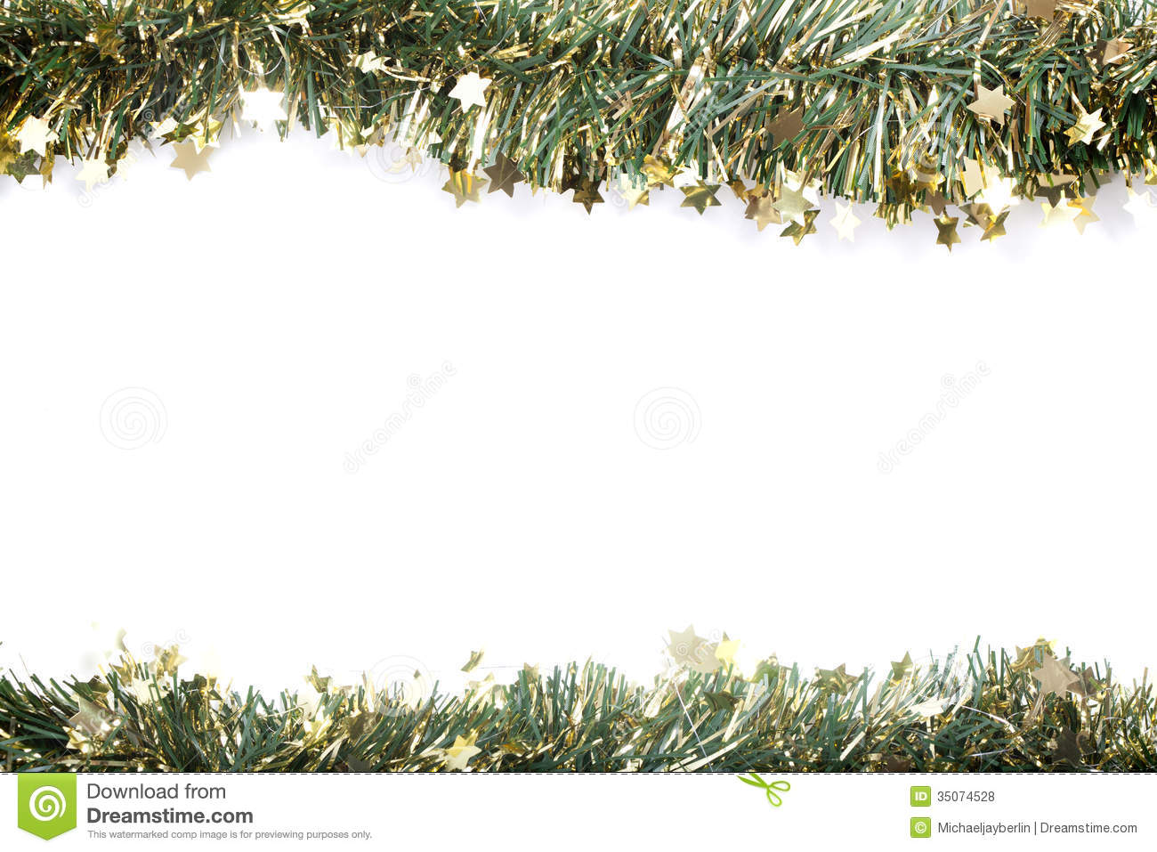 Artificial Fir Branch Garland With Tinsel Stock Photo - Image of ...