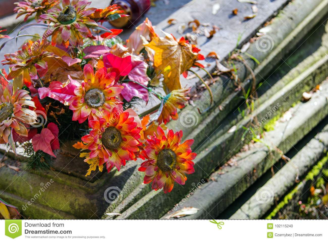 Artificial Flowers Bouquet On The Grave Stock Photo Image Of