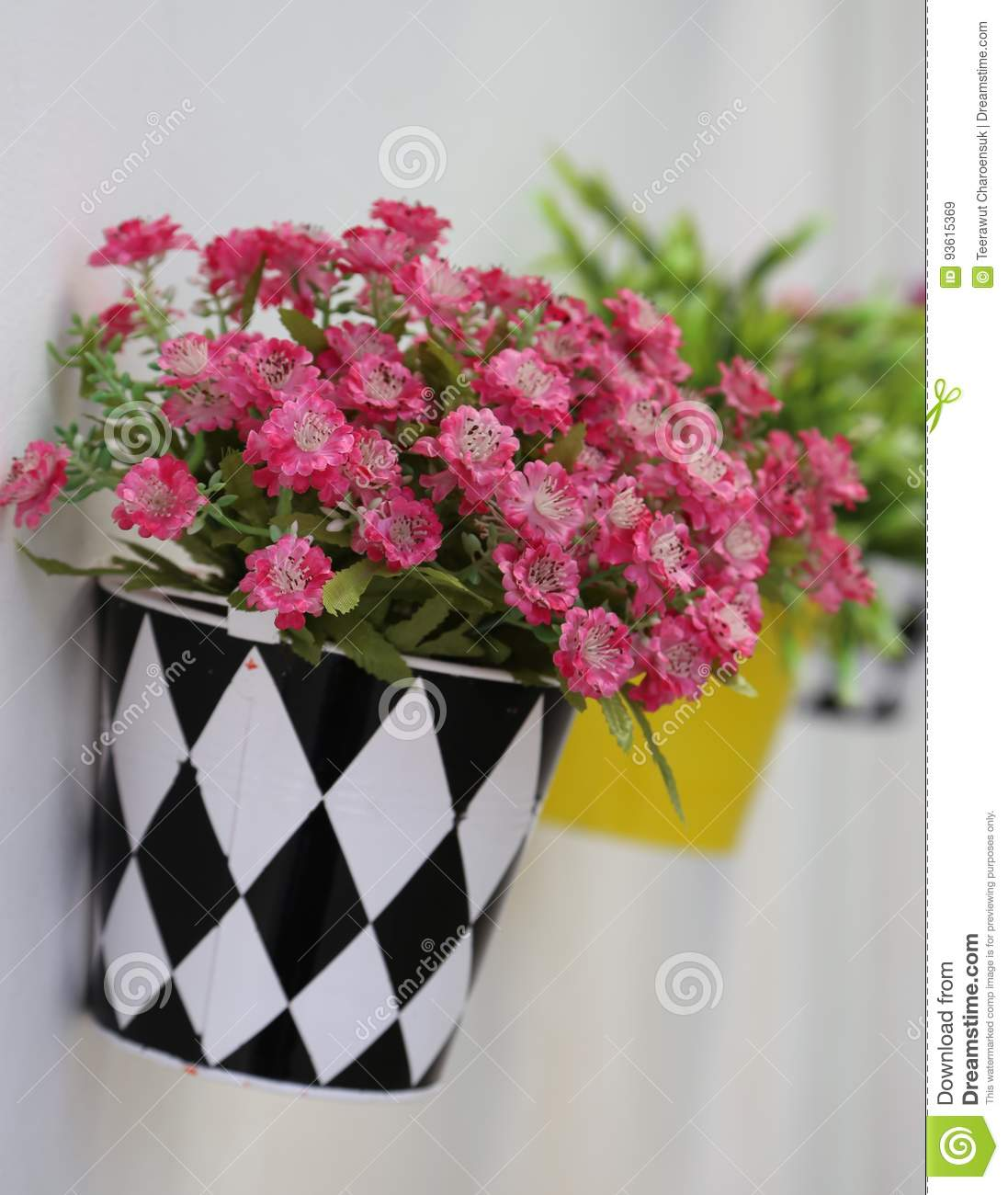 Artificial flowers stock image image of outside flowers 93615369 artificial colorful flowers in black and white pot for wall decoration mightylinksfo