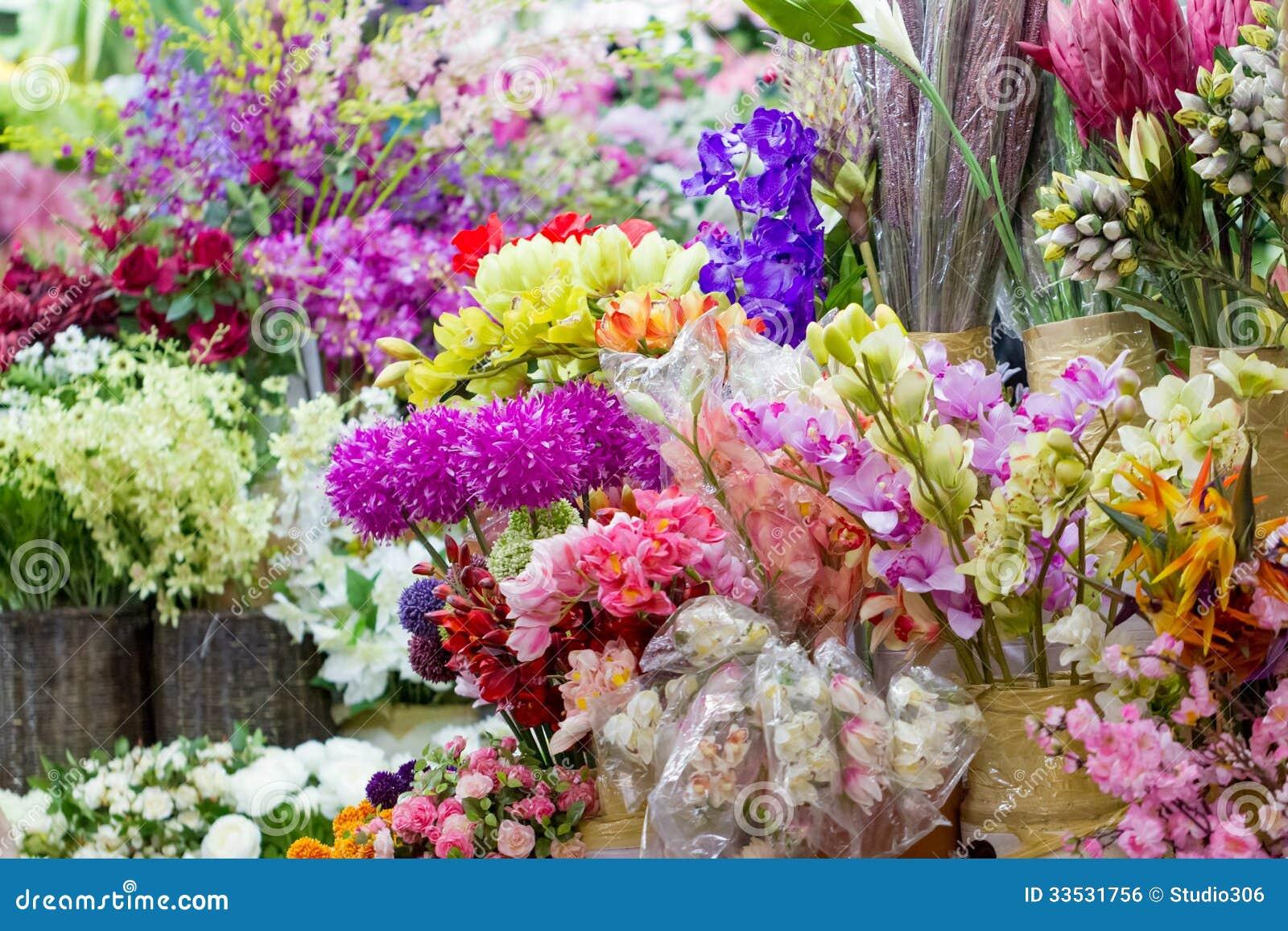 artificial flowers market royalty free stock image image 33531756. Black Bedroom Furniture Sets. Home Design Ideas