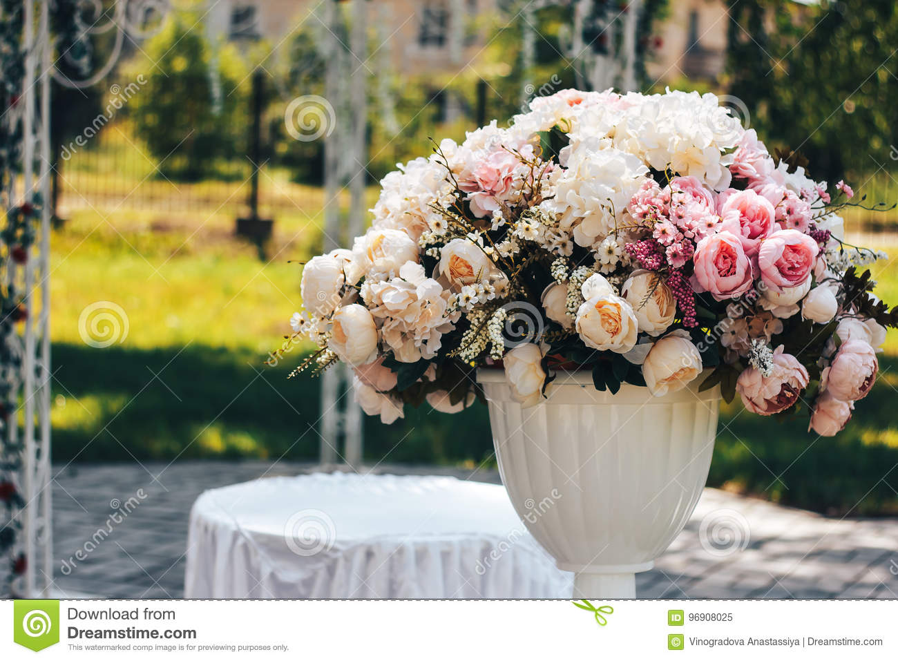 Artificial Flowers On The Street In White Pot Stock Image Image Of