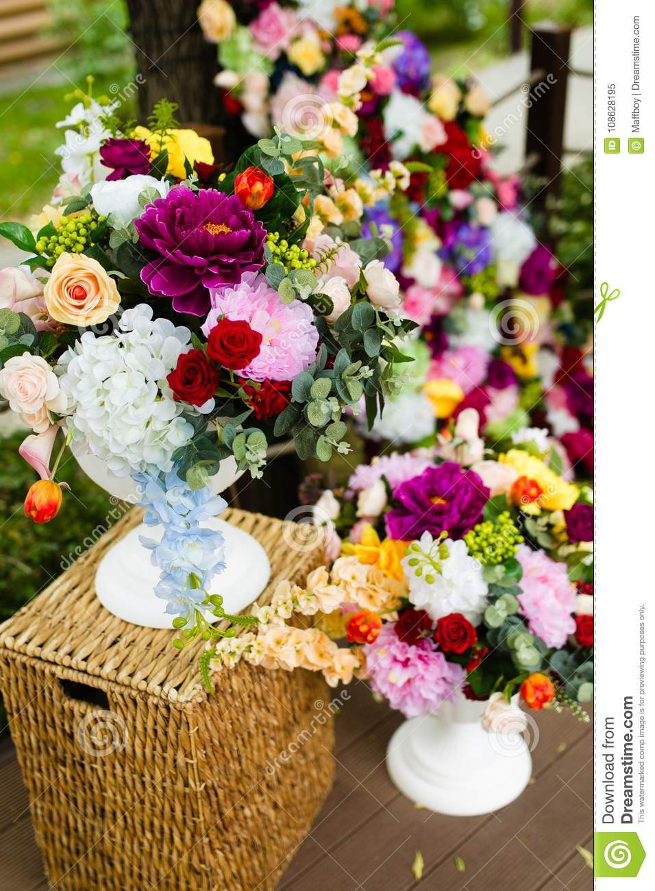Artificial Flowers In A Vase Large Bouquet Stock Image Image Of Bouquet Plastic 108628195