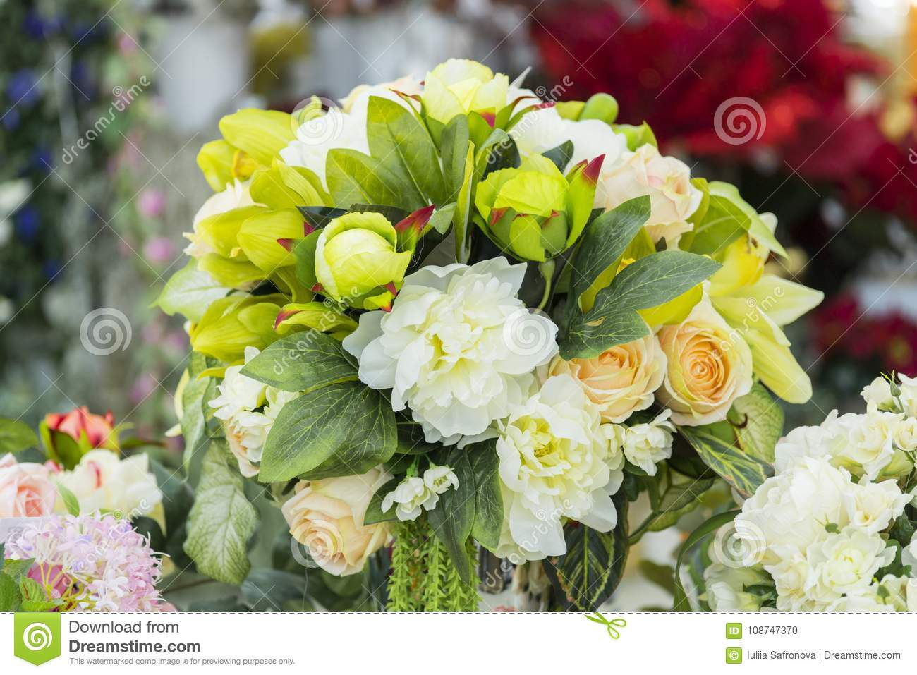 Artificial Flowers In A Vase Large Bouquet Stock Photo Image Of Bouquet Fake 108747370