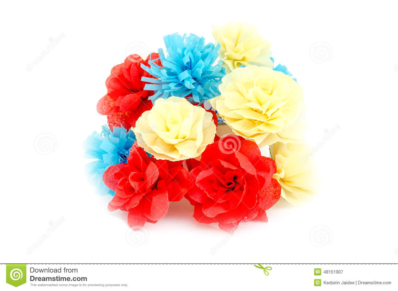 Artificial Flowers On White Background Stock Image Image Of