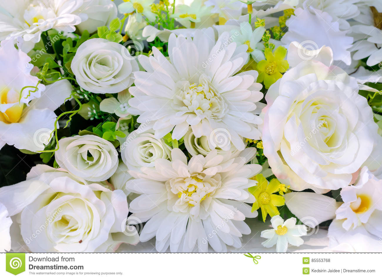 Artificial Flowers Of White Rose And Gerbera For Decoration Stock