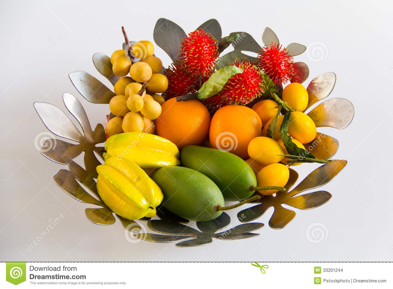 Artificial fruits in the basket at white background for for Artificial fruit for decoration