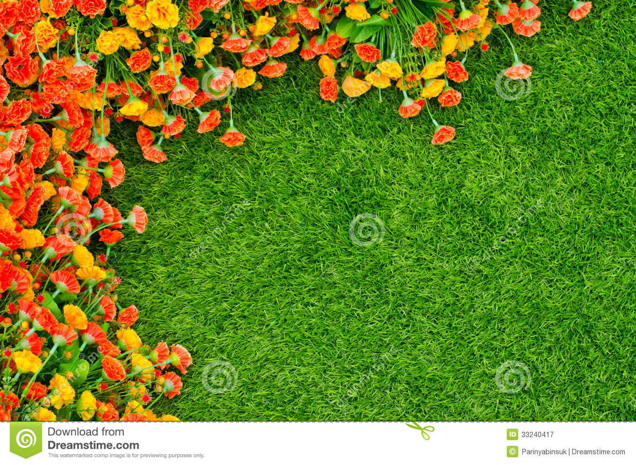 Artificial Grass And Flowers Top View Texture