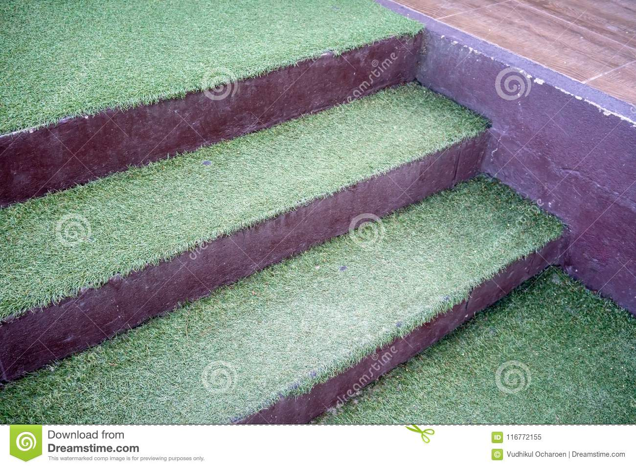 Artificial Green Grass On Concrete Stairs For Nature Theme Deco ...