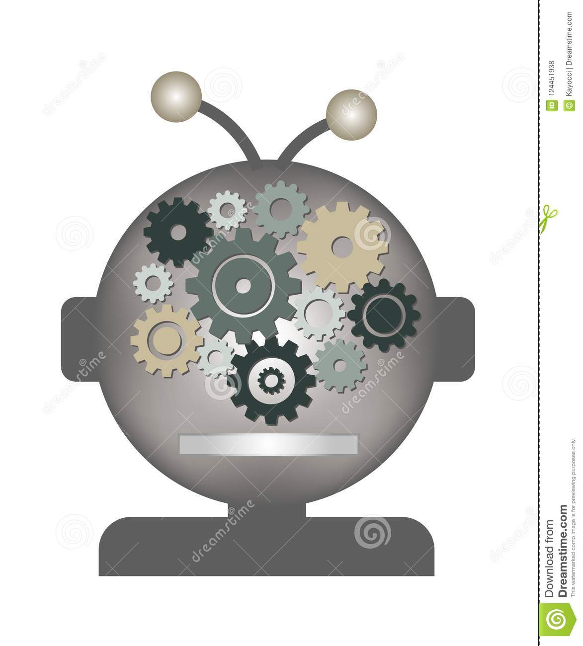artificial intelligence ai space alien stock vector