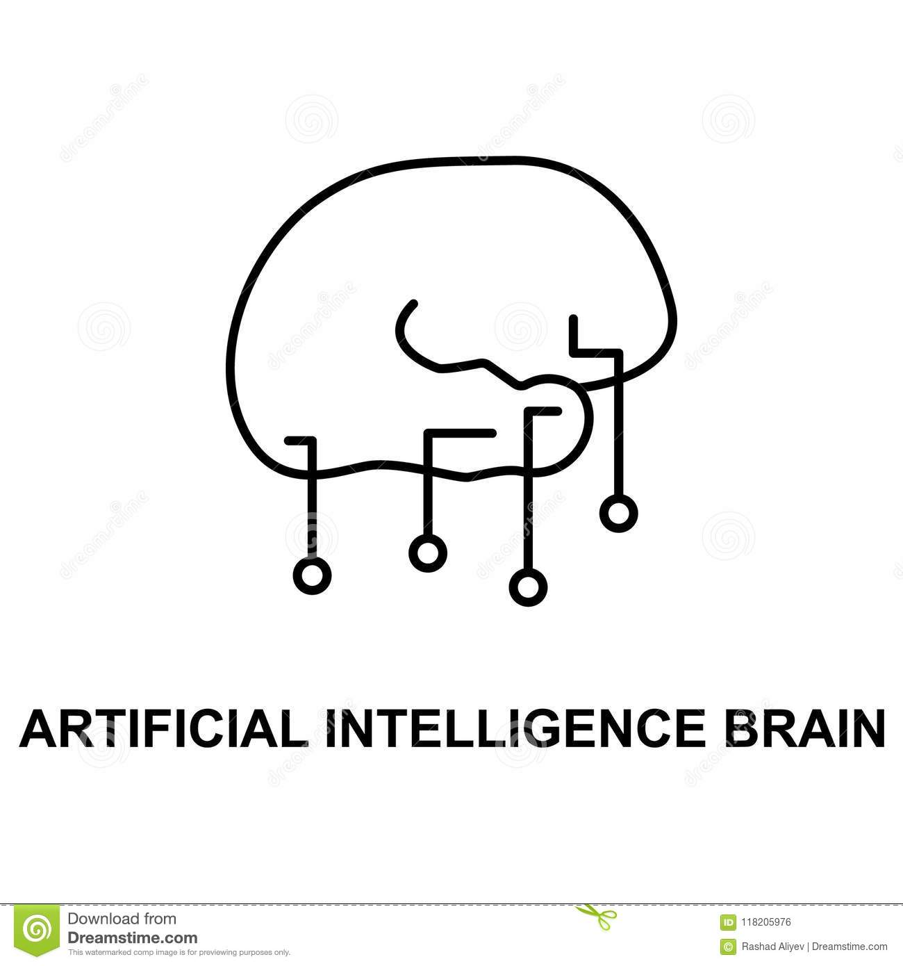 artificial intelligence brain icon. Element of technologies icon with name for mobile concept and web apps. Thin line artificial i